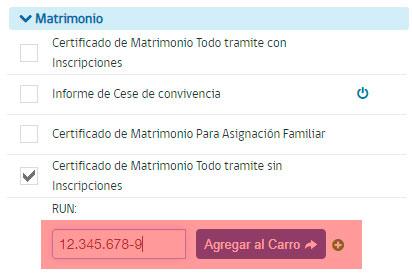 Obtener certificado de matrimonio - Paso 2
