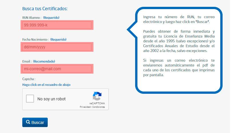 Obtener certificado de estudios online - Paso 2