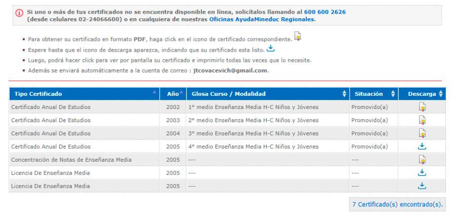 Obtener certificado de estudios online - Paso 3