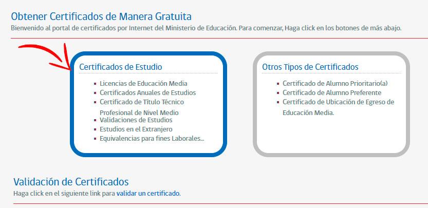Obtener certificado de estudios online - Paso 1