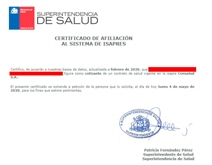Ejemplo de certificado de Isapre