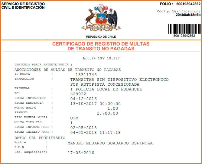 Información que incluye del certificado de multas