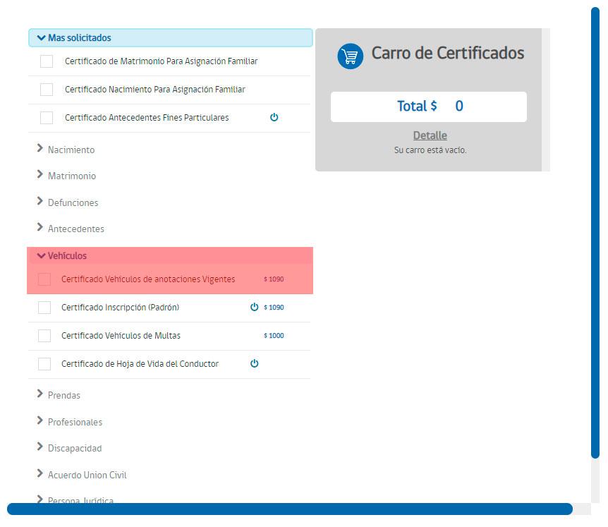 Obtener el certificado de anotaciones vigentes Paso 1