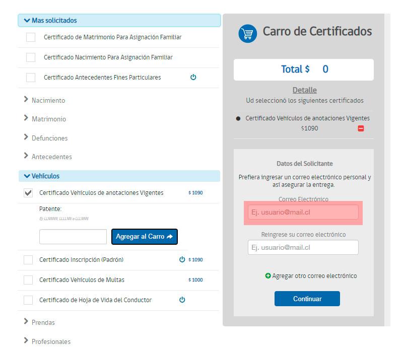 Obtener el certificado de anotaciones vigentes Paso 3